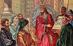King Solomon studying the drawings for the Temple. Source Wikipedia/A Bible Card Company