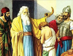 The prophet Samuel anointing David as the future king of Israel.