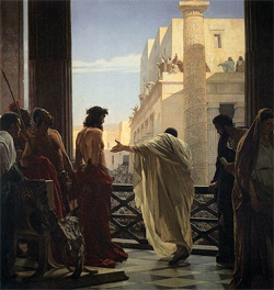 Pontius Pilate presents Jesus to crowds by Antonio Ciseri (1821-1891): Wikipedia