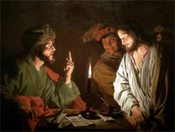 Christ before Caiaphas by Matthias Stom (1615-1649): Wikipedia