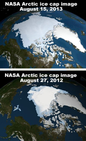 NASA satellight photos showing a 60% increase in ice mass between August 2012 and August 2013.