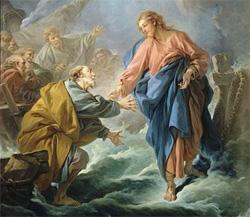 Peter walking on water by Francois Boucher (1703-1770): Wikipedia