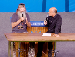 Duck Dynasty's Phil Robertson being interviewed by Greg Laurie at his crusade in Anaheim, California in August 2013. Photo Flickr/Jus10h