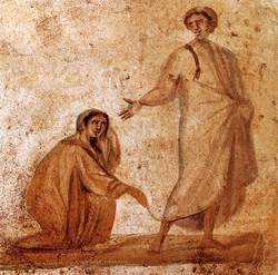 An image of Jesus healing the woman with the issue of blood from the Roman Catacombs 4 AD. Wikipedia {PD Art}