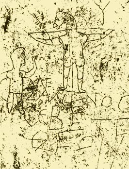 "Graffiti on a Roman wall dated to the first century. It depicts a man worshipping a crucified donkey. The words read ""Alexamenos worships [his] god."" It is believed Roman soldiers were mocking a Christian solder. Wikipedia"