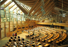 Despite the fact sex ed is not reducing teen pregnancies, Scottish activists are demanding Christian schools not be exempt from the government's new sex ed program: Photo Debating Chambers, Scottish Parliament Wikipedia/Martyn Gorman