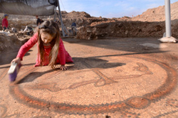 Working on the Mosaic of 1,500 year-old-Byzantine Church discovered in Israel: Photo by by Yoli Shwartz and Dr Davida Dagan courtesy of the Israel Antiquities Authority