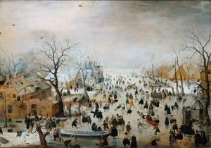 Skating on the Thames by Hendrick Avercamp (1586-1634)