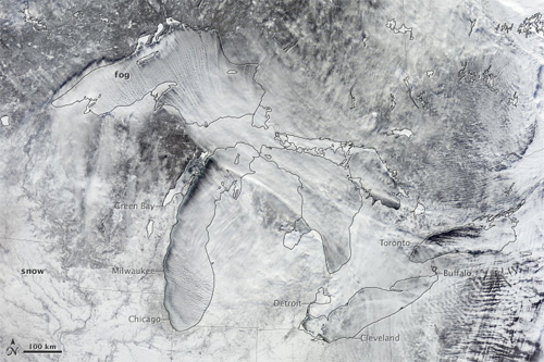 Ice forming on the Great Lakes -- Satellite photo taken January 6, 2014 Photo credit: NASA