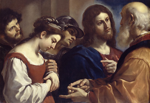 Jesus with the woman caught in adulator by Guercino (1591-1666)