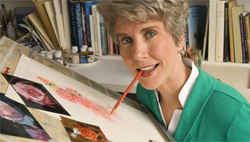 Joni a quadriplegic since a diving accident at 17, started her ministry by painting.