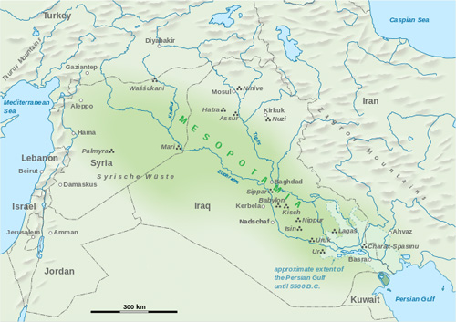 Abraham was from Mesopotamia  (darker green shade) which covers parts of modern Iraq, Iran, Syria and Turkey. Map Wikipedia/ Goran Tek-en