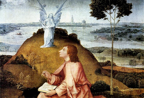 The Apostle John on the Island of Patmos by Hieronymous Boshch (1450-1516 AD): Wikipedia