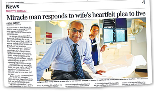 Dr. Sean George, a miracle man. Image: Newspaper clip of the story in The West Australian, March 21, 2009