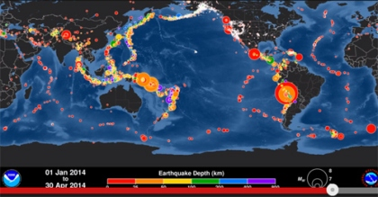 Portrayal of earthquakes occurring between Jan and April 30, 2014  Image capture: PTWC YouTube animation