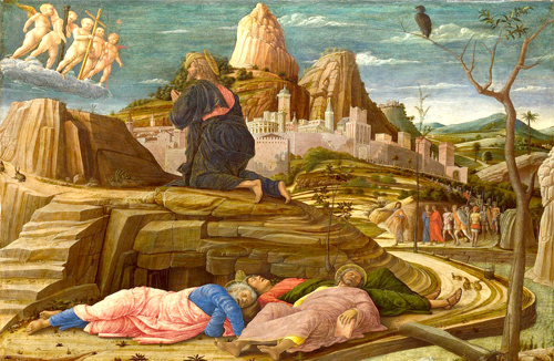 Jesus praying in the Garden of Gethsemane as his disciples sleep. By Andrea Mantegna (1431-1506) Photo: Wikipedia