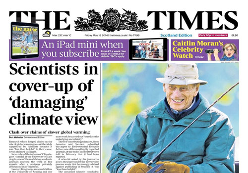 Shocking Times of London cover accuses those in the man-made global warming camp of trying to suppress the truth?