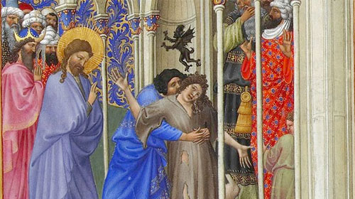 """Help my unbelief"" -- Jesus delivers boy of evil spirit -- by Tres Riches Heures 15th Century."