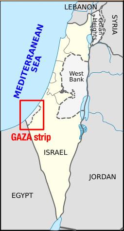 The GAZA strip bordering the Mediterranean sea: UN