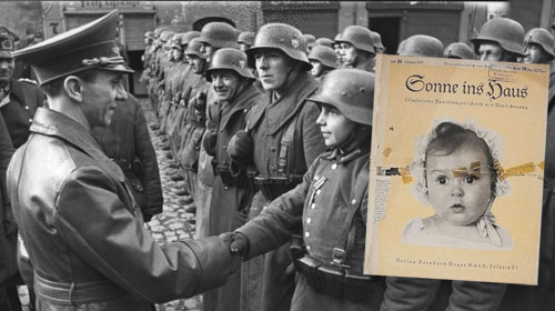 Nazi Joseph Goebbels (left) addressing German troops and the cover of magazine where he chose a Jewish baby as the poster child for the Aryan race.