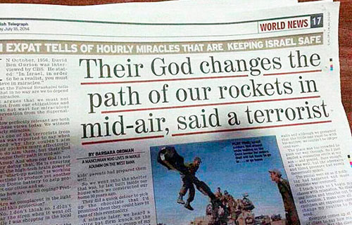 Headline in the Jerusalem Post, July 18, 2014. Image: WND.com