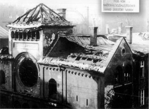 Photo of Jewish synagogue burnt during the Night of Broken Glass.