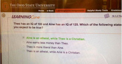 A screen capture of a quiz question for Psychology 1100 at Ohio State University: Campus Reform