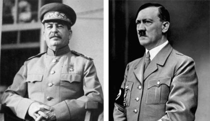 Left to right: Joseph Stalin and Adolph Hitler. Were they influenced by the Throne of Satan?