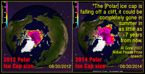 Showing the dramatic increase in the size of the Polar Ice Caps between August 29, 2014 and August 29, 2014. Base image University of Illinois Cryosphere project