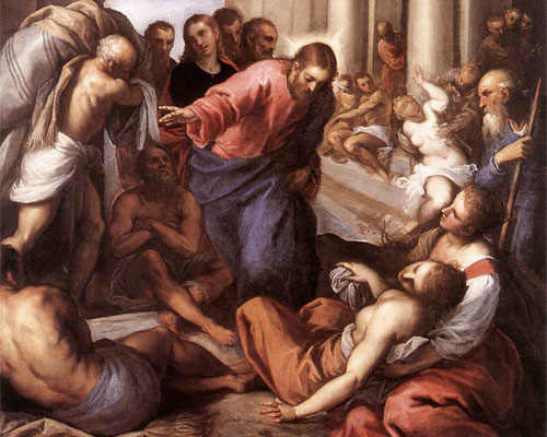 Jesus heals the man at the pool of Bethesda by Palma Giovane (1548-1628): Wikipedia
