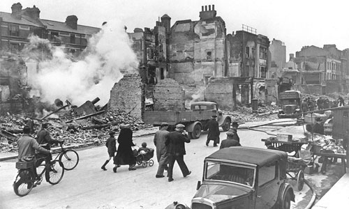 London, England after a night of bombing in World War II