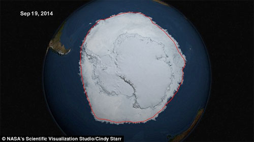 Sattelite images showing the Antarctic ice cap now at record levels. Photo: NASA