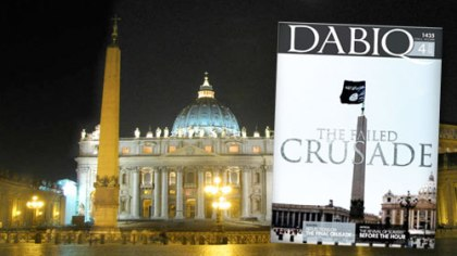 The Vatican's St. Peter's Square with insert image of Dabiq magazine. Main image Storm Crypt | Foter | CC by-NC-ND
