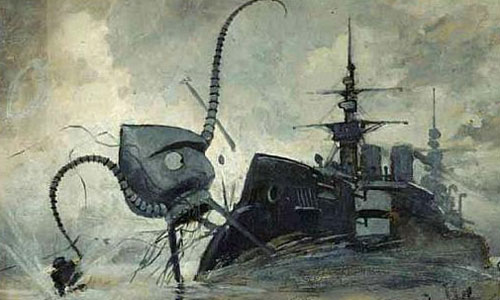 Martians attacking HMS Thunder Child from War of the Worlds: Wikipedia