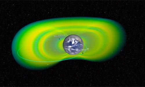 Representation of the Van Allen Belt protecting the earth: Youtube Capture NASA Goddard