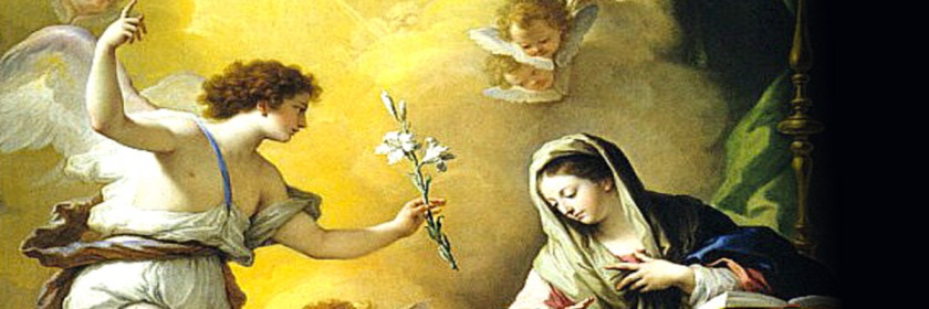 The angel Gabriel announcing Mary's conception by Paolo de Matteis 1712. This was part of the Feast of Annunciation (Mary's conception) celebrated by some Catholics on March 25th.