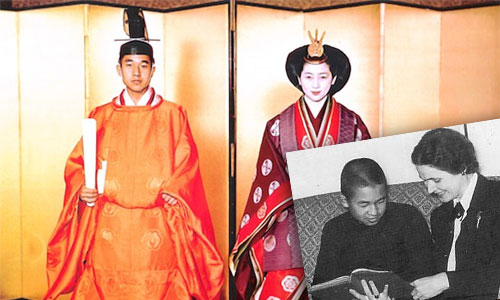 Main image Crown Prince Akihiito at his 1959 wedding to Michiko. Vining was the only foreigner invited to the wedding. Insert Vining with younger Akihioto