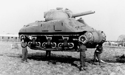 Fake balloon tank used to deceive Germans prior to D-Day.