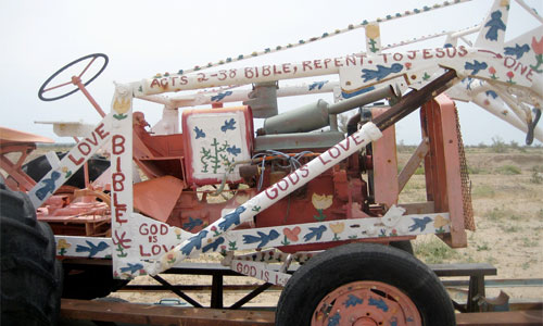 Even the tractor which is used at the site gets a paint job. Photo: scottjlowe/foter/cc by-nc