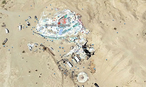Salvation Mountain in the middle of the desert. Photo: Google Earth