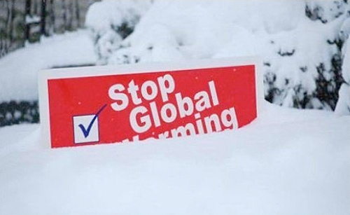 Global warming sign buried in snow in England: Photo source unknown