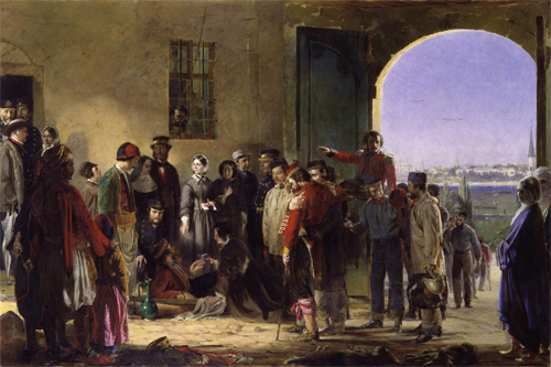 Florence Nightingale receiving the wounded at Scutari (Crimean War( by Jerry Barrett (1824-1906)
