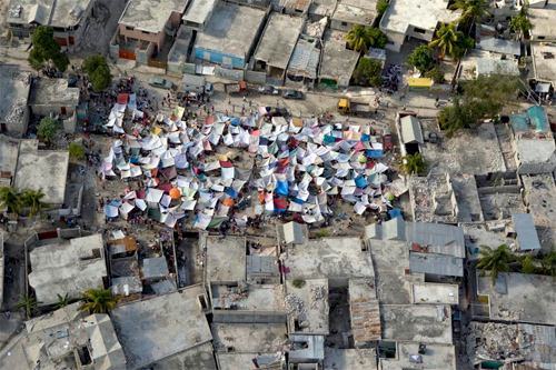 """Tent city in Haiti after 2011 """"Great"""" earthquake. Photo: United Nations/Foter"""