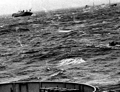 Photo of sinking Flying Enterprise taken from USNS General A.W. Greely on December 29, 1952