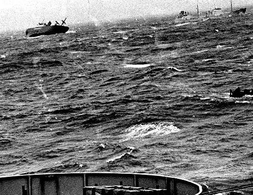 Photo of sinking Flying Enterprise taken from USNS General A.W. Greely on December 29, 1952