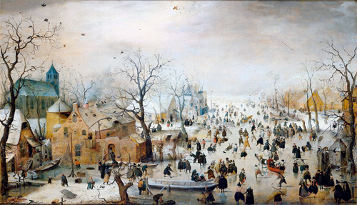 The Little Ice Age peaked in Europe between 1645 and 1715. Above painting by Dutch artist Hedrick Avercamp (1585-1643) reveals the impact of the cooling.