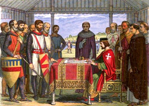King John signing the Magna Cara by James Dolye (1864]
