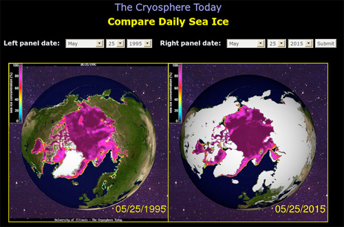 Comparing the size of the Polar ice cap on May 25, 1995 with May 25, 2015. Image: University of Illinois Cryosphere Project