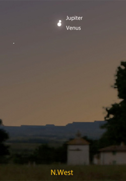 The coming together of Venus and Jupiter on June 30, 2015 Source: Stellarium.com