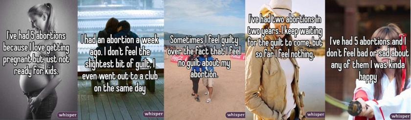 Selected Whisper posts on abortion: Daily Mail